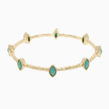 Mint Green Gold Stone Accent Bangle
