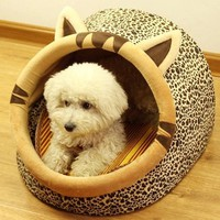 Cute Jaguar Shaped Pet Dog Cat Bed House Removable Washable Pe...