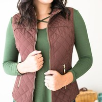 Tatum Brown Quilted Vest