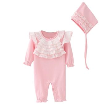 Newborn Infant Baby Kids Girls Cap Hat Lace Romper Jumpsuit Clothing Set Girls Romper Long sleeve baby Outfit drop ship