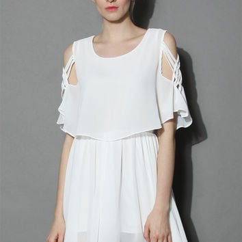 Ethereal Cold Shoulder Skater Dress in White White