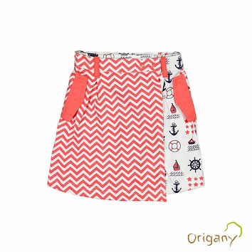 Organic Nautical Mixed Print Skort