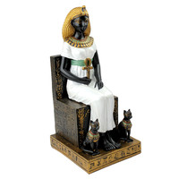 Queen of Egypt Cleopatra on her Hieroglyphic Throne with Goddess Bastet Statue