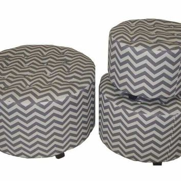 Marvellous and Lovely 3pc Wood Linen Round Ottoman