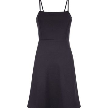 Black Crepe Strappy Square Neck Dress | New Look