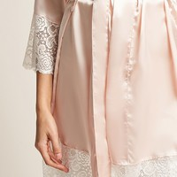 Pretty Robes Satin Crochet Lace-Trim Robe