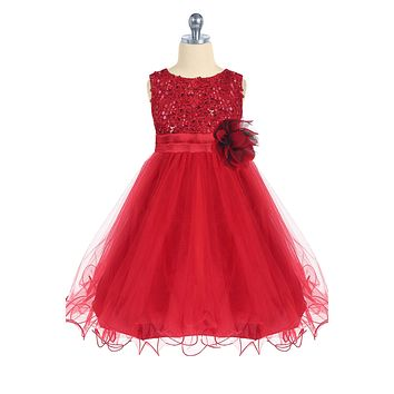Girls Red Sequin Party Dress w. Lettuce Tulle Hem 2T-14