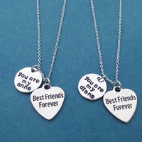 You are my Anne, You are my Diana, Best Friends Forever, Heart, Silver, Necklace, Birthday, Best friends, Gift, Jewelry