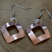 Copper square drop earrings hammered texture