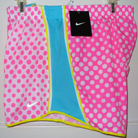 NIKE Womens Tempo Pacer Shorts w Panty Size XL Dots Pink NWT Running