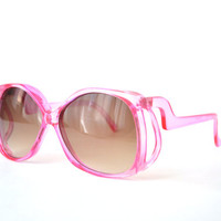 1970s Oversized Boho Sunglasses Pink Butterfly Style Made in Italy