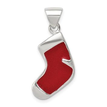 Sterling Silver Enameled Christmas Stocking Charm, 25mm