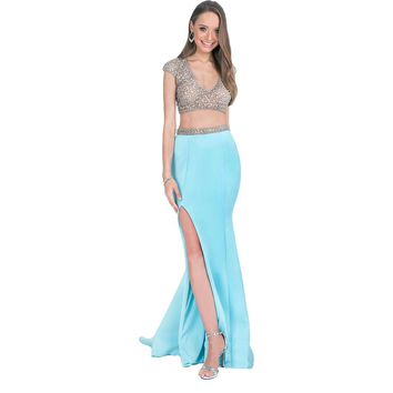 Terani Couture Embellished Formal Crop Top Dress