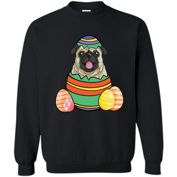 Cute Pug Easter Egg Tshirt Funny Dog Tee Printed Crewneck Pullover Sweatshirt 8 oz