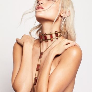 Free People Desert Rose Stone Ladder Necklace