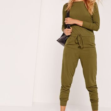 Missguided - Ribbed Long Sleeve Jumpsuit Khaki