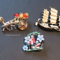 Vintage Figural Brooch Lot, Collectible Pins, Brooches, Destash Lot, Rhinestones / Enamel