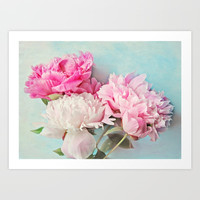 3 peonies Art Print by Sylvia Cook Photography