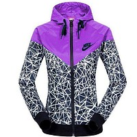 """NIKE""Women Trending Fashion Casual Printed Hooded Zipper Cardigan Jacket Windbreaker Purple G"
