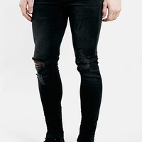 Men's Topman Ripped Spray On Skinny Jeans ,