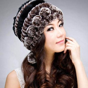 LMF9GW 2016 New 100% Genuine Knitted Rex Rabbit Fur Hat Winter Lady Striped Caps Female Fashion Women Fur Beanies hats
