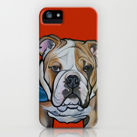 Johnny the English Bulldog iPhone & iPod Case by Pawblo Picasso