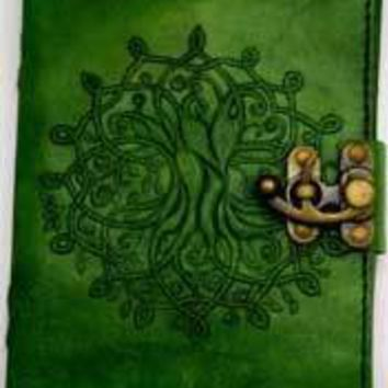"""5"""" x 7"""" green Tree of Life leather w/ latch"""