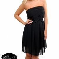 Black Semi-Formal Chiffon Dress, Strapless – McKeen & Co Clothing