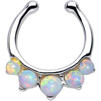 Five White Faux Opal Non-Pierced Clip On Septum Ring