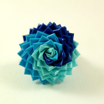 Back to School Sale -  The Sea - Duct Tape Rose Ring in Shades of Blue