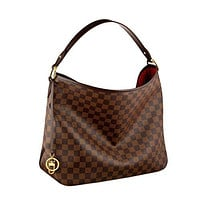 LV  Women Shopping Leather Best Seller formais Vuitton Damier Canvas Delightful MM Shoulder Tote Handbag Article: N41460 Made in France