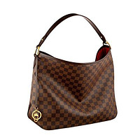 LV Women Shopping Leather Tote Handbag Shoulde Louis Vuitton Damier Canvas Delightful MM Shoulder Tote Handbag Article: N41460 Made in France