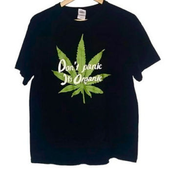 Vintage Pot Leaf t-shirt Weed Stoner shirt marijuana Hippy Soft Grunge Don't Panic It's Organic Size Large