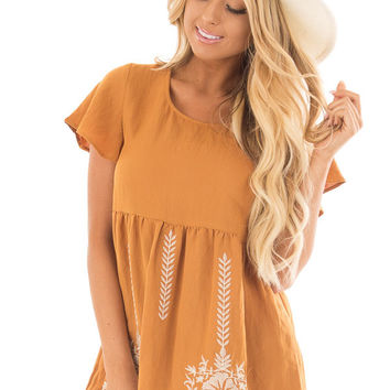 Camel Short Sleeve Babydoll Top with Embroidery Details