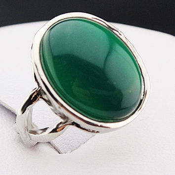 New Arrival Guaranteed 100% Malay Jade Stones Oval Vintage Retro Silver Rings for Womens Mens Mother's Day Gifts  A544 = 1946744644
