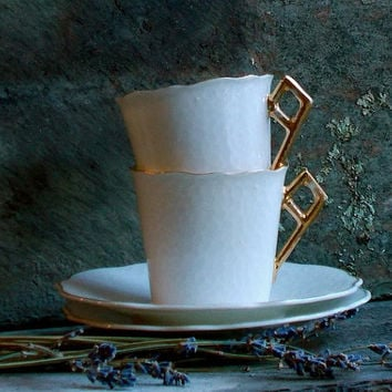 Vintage White Porcelain Tea Cups and Saucers - Set of Two - Hand Painted - White and Gold - Cottage Decor