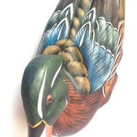 Vintage hand carved, hand painted Carolina Wood duck, colourful, home decor, art, sculpture