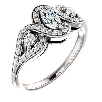 0.25 Ct Marquise Diamond Engagement Ring 14k White Gold