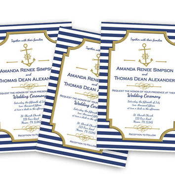 Elegant Navy Nautical Wedding Invitations - Anchor Wedding Invitation - Sailor Wedding - Gold and Blue Wedding Invites - Fast - Custom