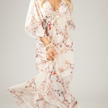 ANGL | Elegant Printed Floral Maxi Dress