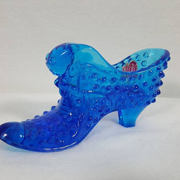 Fenton Electric Blue Hobnail Glass Cat Head Boot Shoe Slipper
