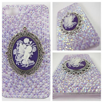 Fairy Angel Purple Cameo Bling Crystal Cell Phone Case for iPhone 5/5S, iPhone 4/4S, Samsung Galaxy S4/S3/Note, Feat. Jelly AB Rhinestones