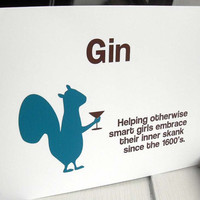 History of gin -  funny handmade squirrel  card (WG138)
