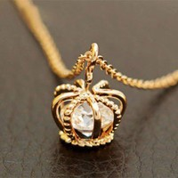 cute crown rhinestone necklace