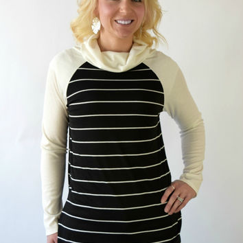 Jordan Striped Cowl Neck Top - Black