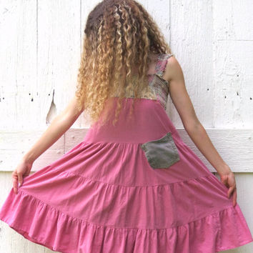 Funky Trapeze Dress upcycled dress pink sundress womens refashioned eco friendly clothing recycled altered size S-M bohemian by wearlovenow