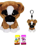 Ty Brutus the Beanie Boos Boxer Dog Set of 2 Medium (9) and Clip Plush Toys with Bonus Two Fruit Scented Erasers