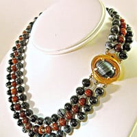 Black Brown Art Glass Necklace, PHILIP HULITAR, 3-Strand Rare Vintage