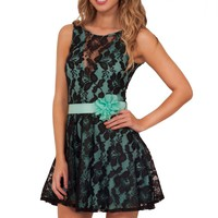 Lace Overlay Mini Fit Flare Party Flower Detail Satin Belt Dress