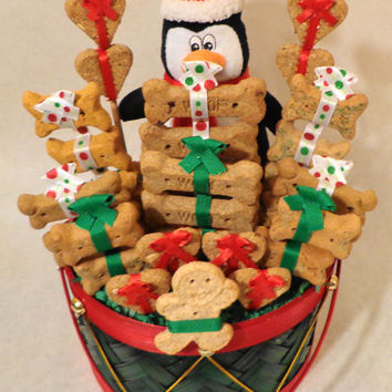 Christmas Dog biscuit treat basket, unique gift, custom, personalized, holiday, toy